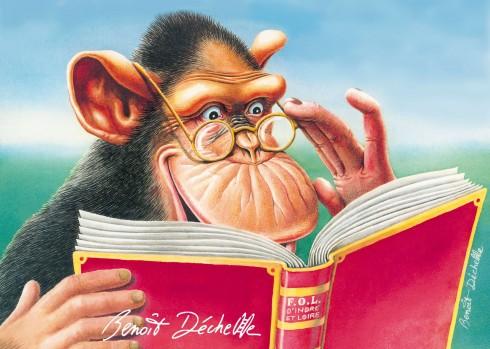 Chimpanzé lisant - Encre et crayon de couleur - Illustration pour affiche