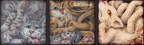 3 versions de chats coincés – Acrylique sur toile – 20 x 20 cm