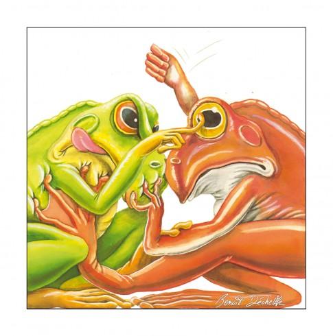 Chamaillerie de grenouilles - Encre et crayon de couleur