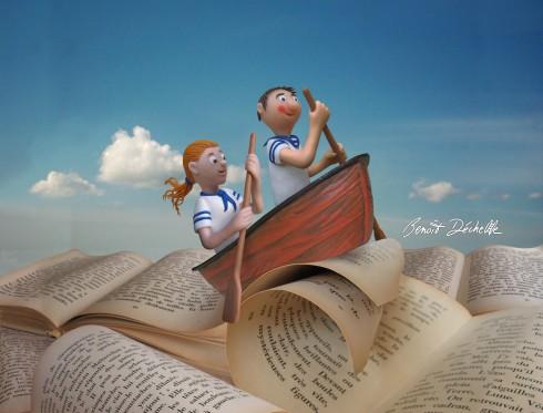 Voyage dans les livres - Modelage et montage photos - Illustration d'affiche