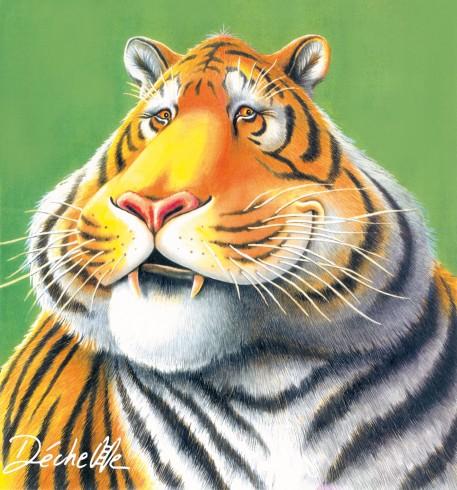 Tigre - Encre et crayon de couleur