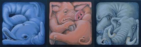 Dauphin coincé - Cochon coincé - Éléphant coincé - 3 acryliques sur carton entoilé - 20 x 20 cm