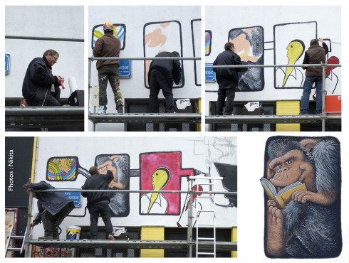 """Samedi 12 octobre de 10h à 17h De ma participation à la fresque collective naît un """"Chimpanzé lisant"""" - 80 x 120 cm."""
