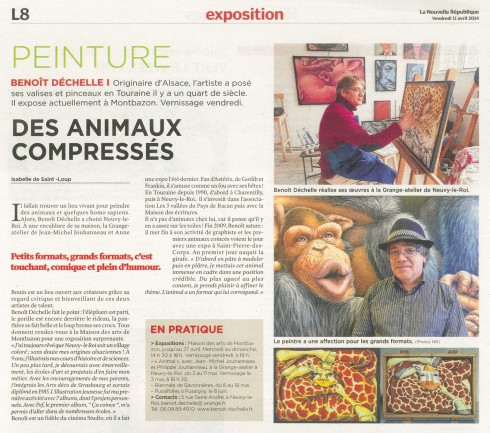 Article dans le Guide Week-end de La Nouvelle République du 11/04/14.