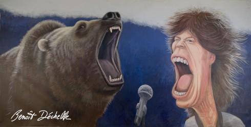 Teddy vs Mick - Acrylique sur toile - 400 x 200 cm - Pussifolies 2013