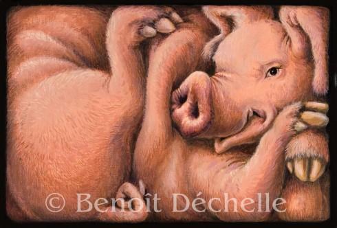 Cochon coincé 2 - Acrylique sur toile - 35 x 24 cm