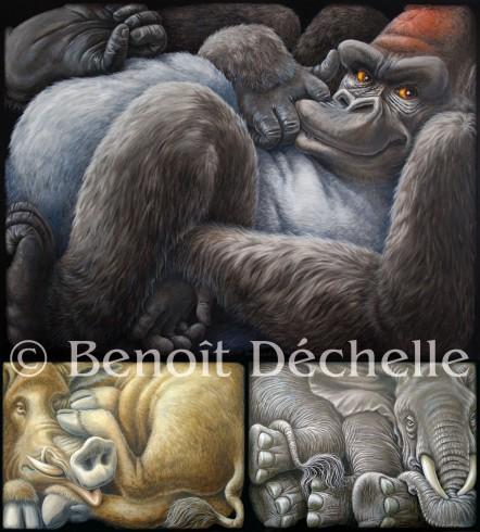 Dechelle-Gorille+sanglier+elephant-coinces