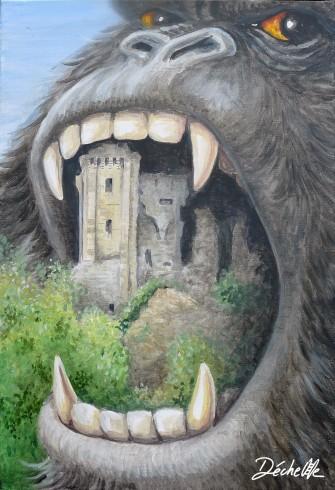 Gorille éructant le château de Lavardin Acrylique sur toile - 38 x 55 cm