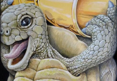 """Extrait de """"Le lièvre et la tortue coincés"""" - Acrylique sur toile - 40 x 80 cm"""