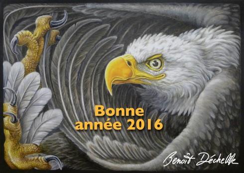 Aigle coincé – Acrylique sur toile (+ retouche numérique) – 92 x 65 cm