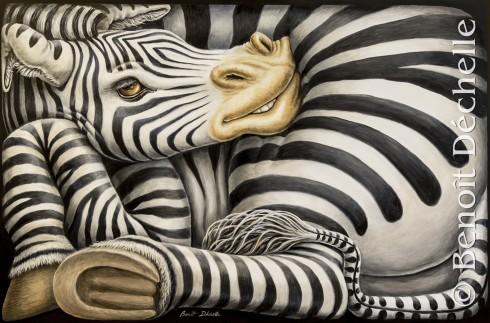 Zèbre coincé 3 – Acrylique sur toile – 146 x 97 cm