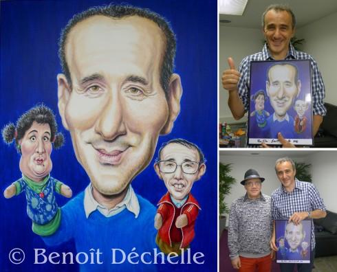 """""""Merki Elie"""" - Acrylique sur toile -  92 x 73 cm et rencontre avec Elie Semoun le 22 avril 2016."""