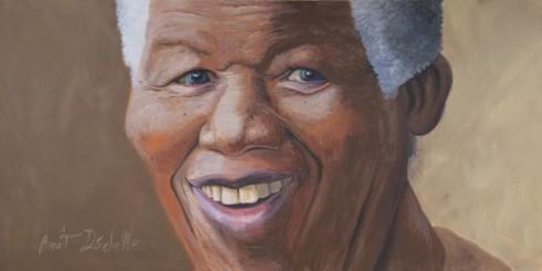 Nelson Mandela - Acrylique sur toile - 2 x 4 m - Réalisé lors des Pussifolies 2014