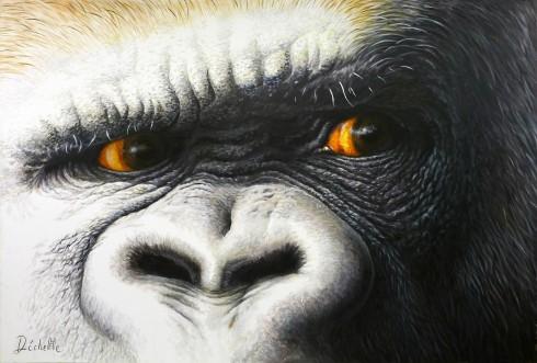 Regard de gorille - Acrylique sur toile - 2 x 3 m