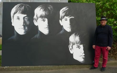 With The Beatles - Acrylique sur toile - 2 x 3 m Réalisé le 5 juin 2016 lors de Nov'Art - Grands Formats