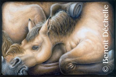 Cheval coincé - Acrylique sur toile - 97 x 146 cm