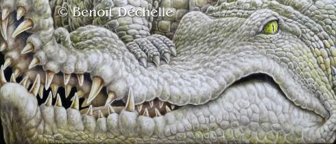Crocodile coincé (détail) - Acrylique sur toile - 97 x 146 cm