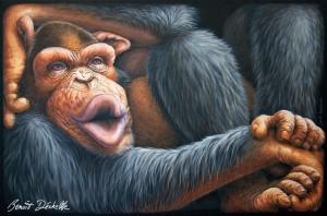 Chimpanzé coincé – Acrylique sur toile – 146 x 97 cm - Collection particulière