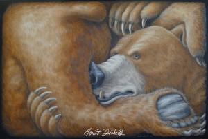 Ours coincé – Acrylique sur toile – 195 x 130 cm