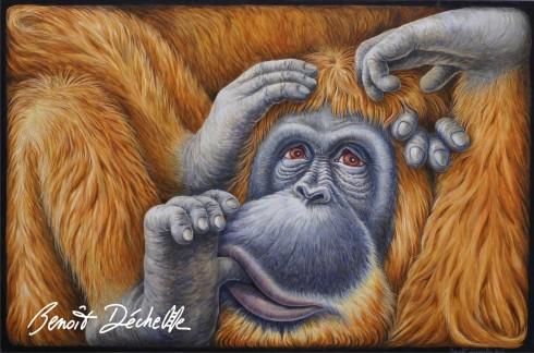 Orang-outan coincé – Acrylique sur toile – 146 x 97 cm