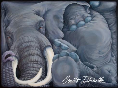 Éléphant coincé - Acrylique sur toile - 200 x 150 cm - Collection particulière