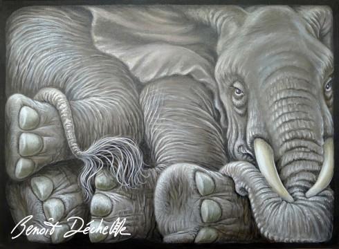 Éléphant coincé 2 – Acrylique sur toile – 73 x 54 cm