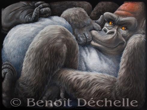 Gorille coincé – Acrylique sur toile – 200 x 150 cm